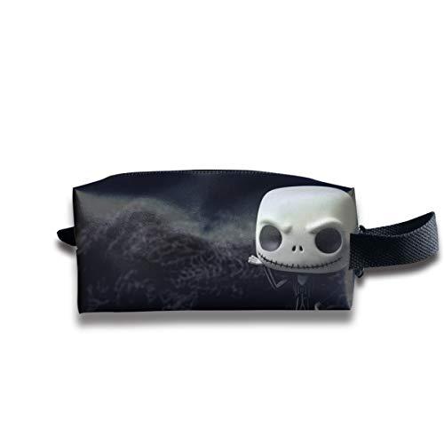 Black Dark Doll Fear Halloween Horror Scary Skull Spooky Terror Toy Multi-Function Key Purse Coin Cash Pencil Travel Makeup Toiletry Bag Box Case