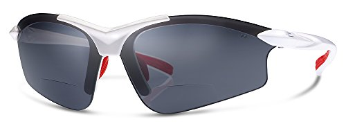 G5 Bifocal Reading Sunglasses | Sun Readers Designed for Sports and Casual Use With Wrap-Around Fit | Made from Highest Quality Materials (White Frame/Gray Lenses, 2.5)