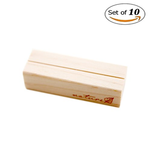 XIANIWTA 10 Pcs Creative Wooden Note Clip Stand Table Number Place Name Memo Photo Card Holders 3 Size Available (Medium) by XIANIWTA