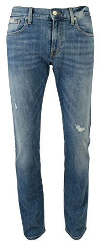 A|X Armani Exchange Men's Slim Fit Stretch Distressed Jean-B-34Wx32L Denim (Armani Men Shoes Jeans)