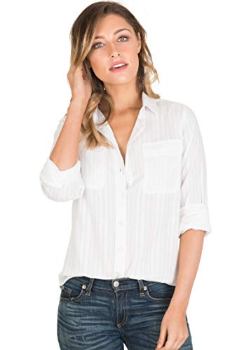 (CAMIXA Womens White Shirt 100% Cotton Casual Two Pockets Button-Down Blouse Top L White Seersucker)
