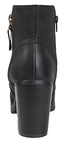 Lora Dora Womens Chunky Block Heel Chelsea Boots Black Distressed Pu b7Z5NLZD