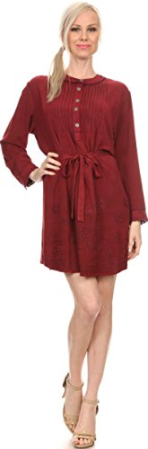 Sakkas 30329 - Leslie Henley Long Sleeve Crochet Cuffed Embroidered Adjustable Tie Dress - Red - OS