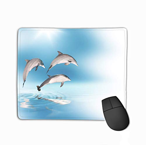 Mouse Pad Dolphins Blue Skys Concept Exotic Holidays Halftone Rectangle Rubber Mousepad 11.81 X 9.84 Inch