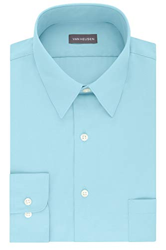 (Van Heusen Men's Dress Shirt Fitted Poplin Solid, Mist, 15.5