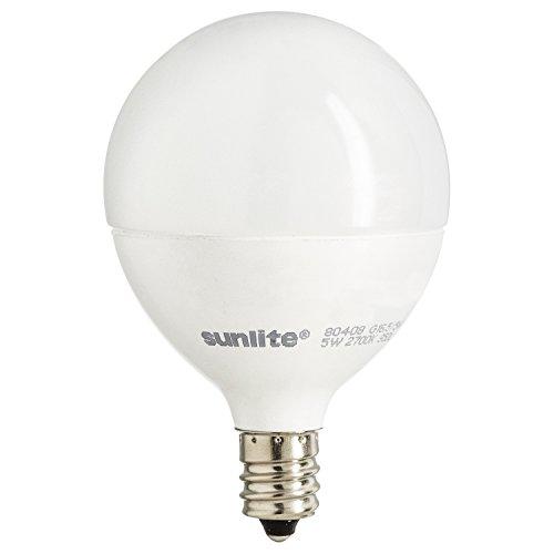 Sunlite G16.5/LED/7W/D/E12/FR/27K LED 60 Watt Equivalent G16.5 Globe Light Bulb Candelabra (E12) Base Frost Dimmable 2700K Warm White