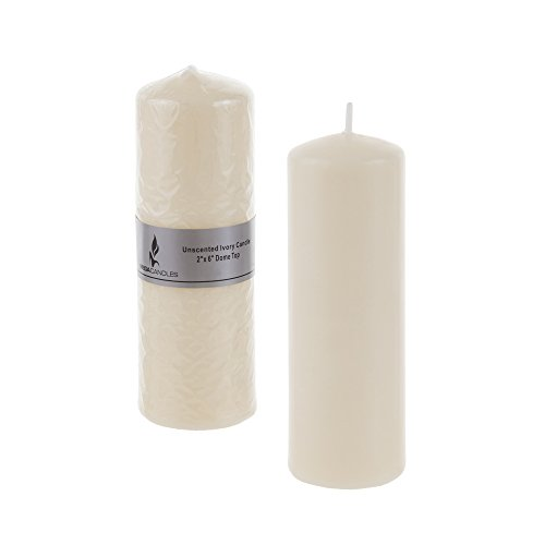 "Mega Candles - Unscented 2"" x 6"" Round Pillar Candle - Ivory"
