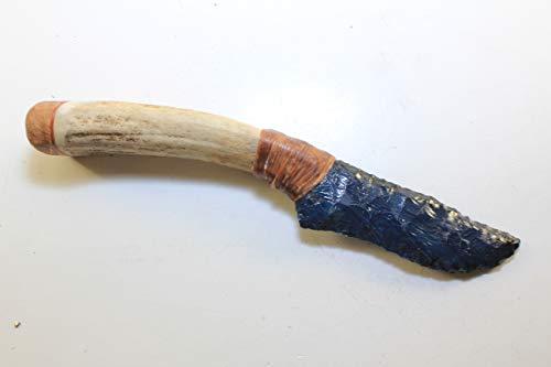 German Sieber/Seiber Agate Slag Glass From Copper Refining That Was Flint Knapped Into a Knife Blade Hafted on Deer antler Handle w/Oak Endcap ()