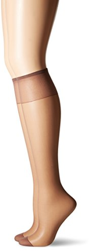 Hosiery Taupe Sheer - Hanes Silk Reflections Women's Knee High Reinforce Toe 2 Pack, Town Taupe, One Size