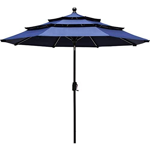 EliteShade Sunbrella 9Ft 3 Tiers Market Umbrella Patio Outdoor Table Umbrella with Ventilation (Sunbrella Navy Blue)