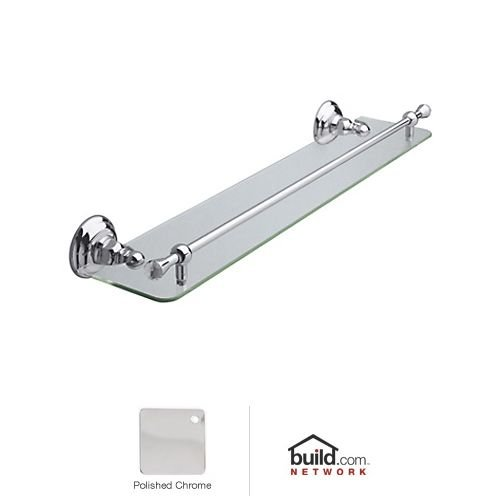 Rohl A1480CAPC C7605Gib Country Bath Wall Mounted Wide Glass Vanity Shelf with Front Retaining Rail with Crystal Accents, 24