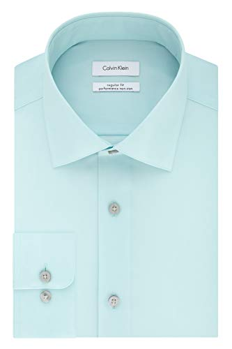 393 Mint (Calvin Klein Men's Regular Fit Non Iron Herringbone Spread Collar Dress Shirt, Mint Julip 17.5