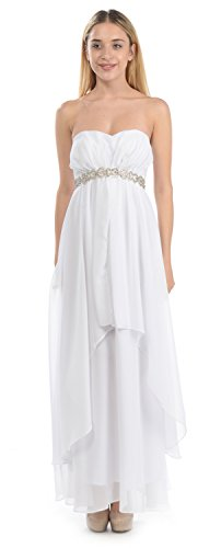 TwinMod Strapless Sheer Mesh Double Layered Prom Bridesmaid Dress (10, White)