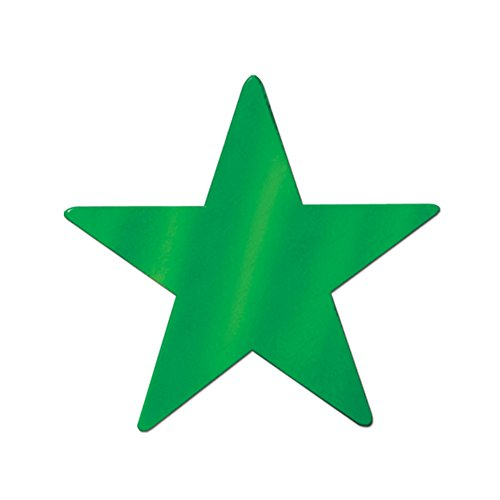"""Beistle Home Party Decoration Foil Star Cutout Green-15""""- Pack Of 24"""