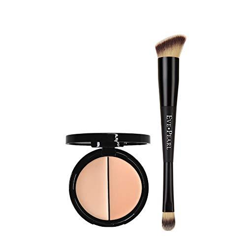EVE PEARL Dual Salmon Concealer And 202 Concealer Blender Brush Full Coverage Under Brighten Eye Pro Concealer Brush Set Makeup Kit (Light) ()