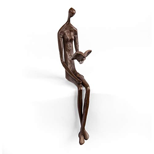 Danya B. ZD8354 Contemporary Home and Office Décor – Bronze Sculpture of Woman Reading Book on a Ledge