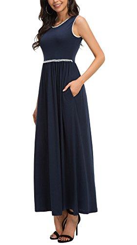 KorMei Damen Sommerkleid Ärmellos Stretch A-Line Lang Kleid Maxikleid Party  Cocktail Strandkleid Blau nA5uAOpiM 1727325e15