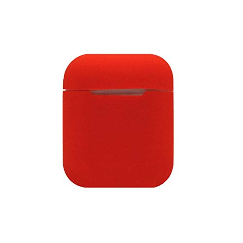 Price comparison product image Sonmer Cute Soft Silicone Shock Proof Solid Color Protective Case For Airpods Earphones (Red)