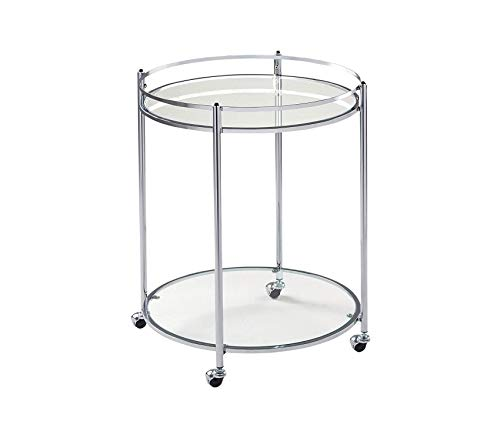 (Studiо Dеsigns Hоmе Veranda Bar Round Cart in Chrome with Clear Glass)