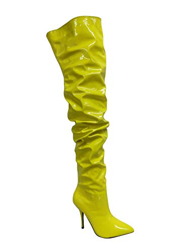 Cape Robbin Bown Thigh High Over The Knee Boots, Stiletto Heel, Fashion Dress Boots for Women - Yellow Size 10