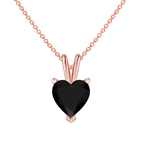 Nisiddh Inc Heart Shape Brilliant Cut Lab Created Black CZ Diamond Solitaire Pendant 18'' Chain Necklace Jewelry in 14K Rose Gold Plated Sterling Silver