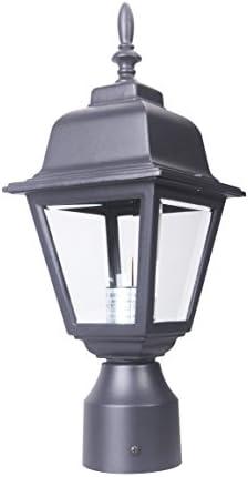 LIT-PaTH Outdoor Post Light Pole Lantern Fixture with One E26 Base Max 60W, Aluminum Housing Plus Clear Glass, Matte Black Finish Black