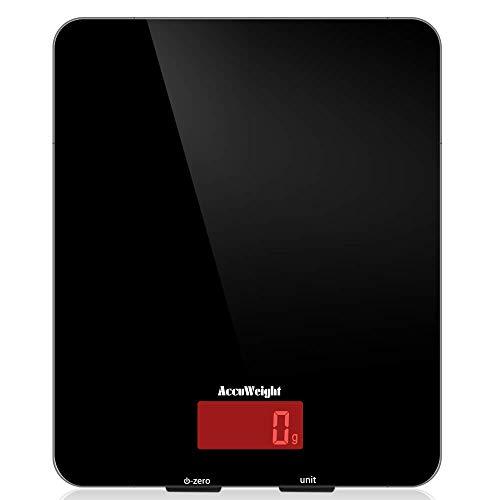 ACCUWEIGHT Digitale Küchenwaage Elektronische Waage Digitalwaage aus Sicherheitsglas mit LCD Display, 5kg x 1g, schwarz, Inkl. Batterie