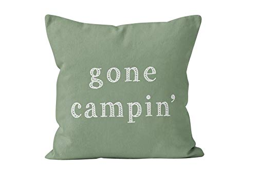 Gone Camping Quote Throw Pillow Cover shown in Fern Green, Gift for camping couple, gift for camper, camping saying home décor ()