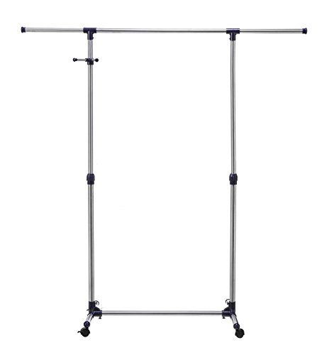 HollyHOME Rolling Garment Rack Adjustable Clothes Rack on wheels for Clothes Hanging Storage, Single Rail, (Plastic Expandable Hanger)