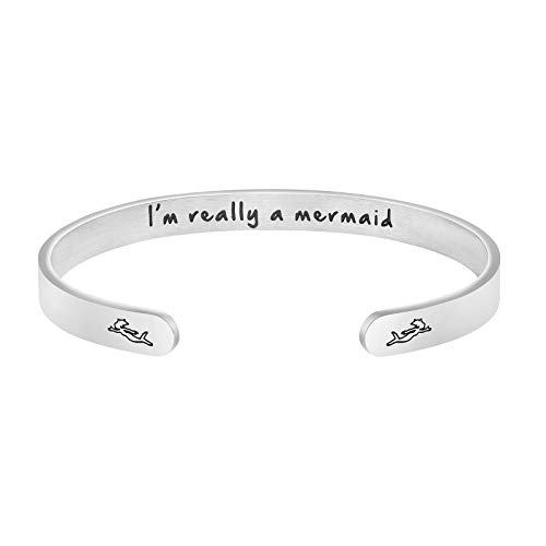 I'm Really A Mermaid Personalized Inspirational for Women Mantra Cuff Bangle Bracelet Engraved Stainless Steel Jewelry