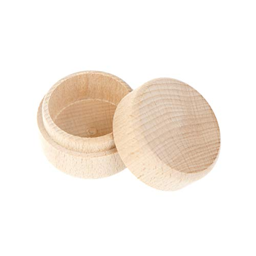CLIENSY Round Wooden Wedding Ring Jewelry Trinket Box Wood Storage Container Case ()