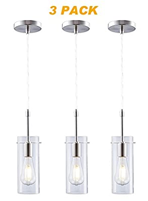 Cloudy Bay Mini Pendant Light,Clear Glass Ceiling Hanging Lighting Fixture For Kitchen Island - 3 Pack