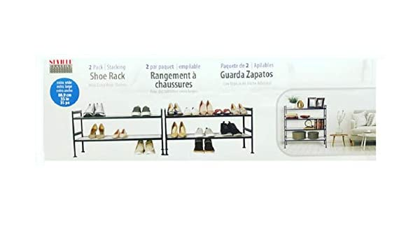 Amazon.com: Seville Classics 2-Tier Resin Slat Utility Shoe Rack Extra Wide Shelves (2 Pack): Home & Kitchen