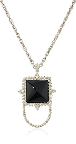 1928 Jewelry Womens Silver-Tone Semi-Precious Onyx Square Eyeglass/Badge Holder Pendant Enhancer, Black, 30