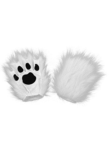 elope Costume Fingerless Kitty Paws White, One Size - White Kitty Paws