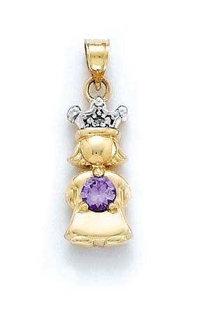 Brut 14 carats avec diamant et améthyste Violet améthyste Princesse-Pendentif-JewelryWeb