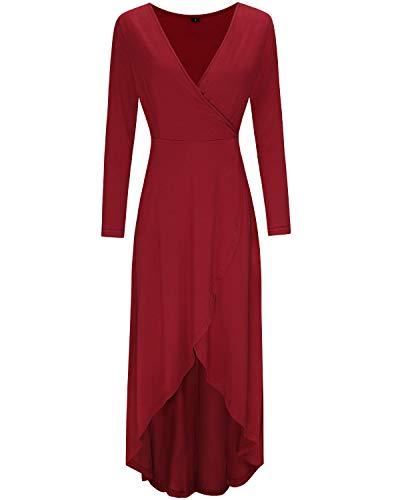 KILIG Womens V Neck Long Sleeve Asymmetrical Casual Maxi Dresses (Wine-1, M) (Dresses Ladies Wedding)