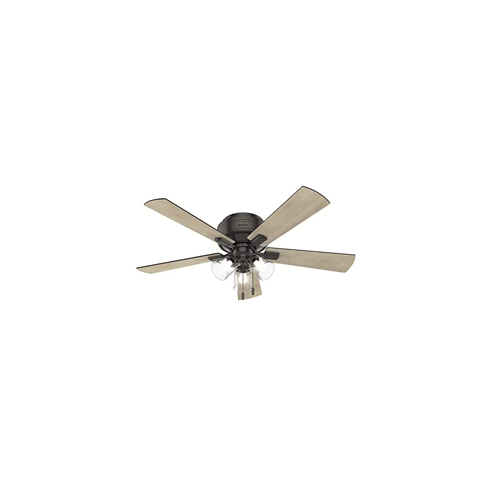 """Hunter Crestfield Indoor Low Profile Ceiling Fan with LED Light and Pull Chain Control, 52"""", Noble Bronze"""