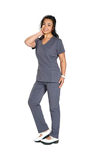 Scrub Pants Seam (Reina ST102 Flex Fitted V-Neck Mock wrap top 2 Way Stretchy Fabric w/Side Seam Zip-Closure & Slim Tappered Pants Scrub Set (L Regular, Pewter))