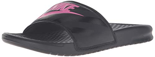 (Nike Women's Benassi Just Do It Sandal, Vivid Pink-Black, 6 Regular US)