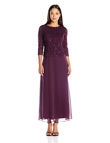Alex Evenings Women's Petite Long Mock Dress with Lace and Illusion 3/4 Sleeves, Deep Plum, 6 Petite