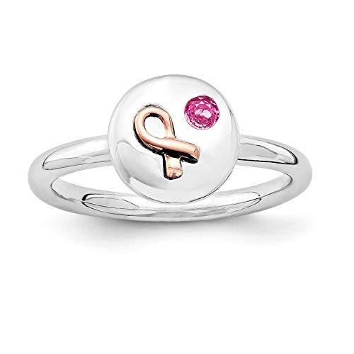 (925 Sterling Silver Rose-tone Pink Sapphire Ribbon Ring Band Size 9 by Stackable Expressions)