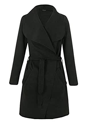 Womens Long Sleeves Waterfall Oversized Duster Belted Coat