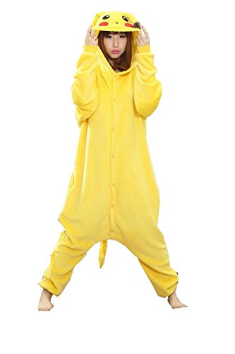 Pikachu Adult Unisex Animal Kigurumi Cosplay Costume Pajamas Onesies (L)