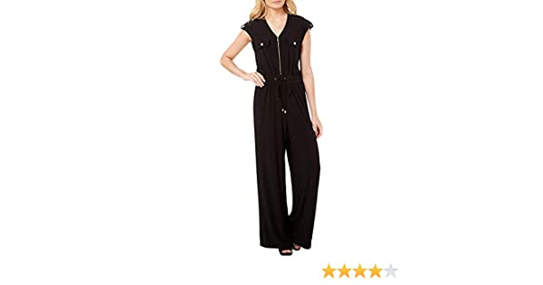 86fa9657984c Amazon.com  Emma   Michelle Womens Zippered Wide Leg Jumpsuit  Clothing
