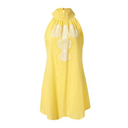 Women's Summer Sundress Casual Linen Halter Neck Sleeveless Midi Dress Summer Loose Ruffle Flora Printed Party Dress (Yellow, XXL)