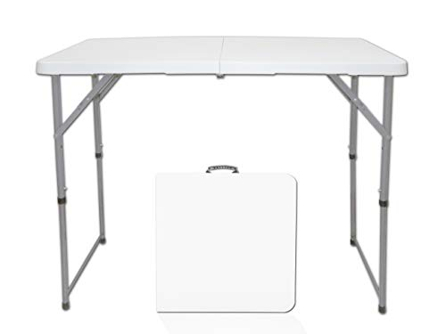 Littlefun Multipurpose Rectangle Table Furniture, Center Folding Table, HDPE TOP White Plastic, 4-Feet Long, 3 Height Adjustable Settings Table for Garden Home Indoors Outdoors Party BBQ ()