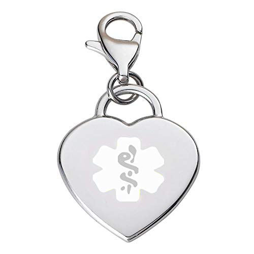 Divoti Deep Custom Laser Engraved Adorable Heart 316L Medical Alert Charm/Medical ID Charm w/Lobster Clasp-White ()