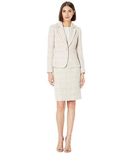 Tahari by ASL Women's Boucle with Frayed Trim Skirt Suit Beige/Ivory 18 - Ivory Womens Skirt Suit