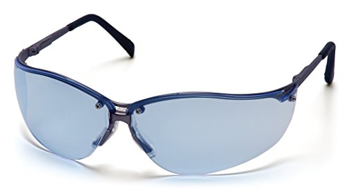 Pyramex V2-Metal Safety Eyewear, Infinity Blue Lens With Gun Metal - Glasses Curved Lenses